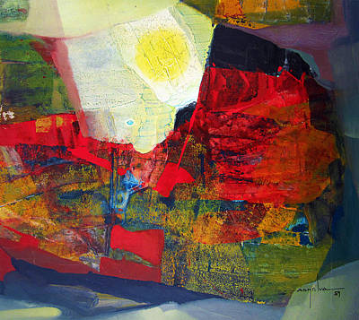 Cosmic Painting - Os1959ar006 Abstract Landscape Of Potosi Bolivia 22.75x20.25 by Alfredo Da Silva