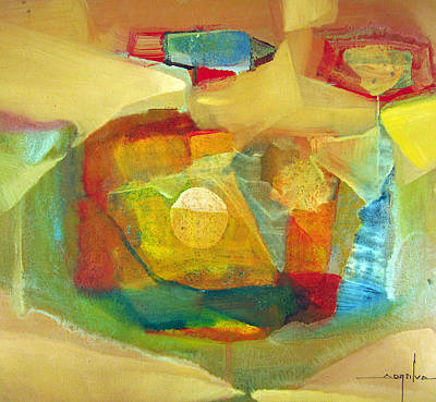 Latin American Painting - Os1959bo003 Abstract Landscape Potosi 17.75x16.5 by Alfredo Da Silva