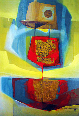 Cosmic Space Painting - Os1959bo004 Abstract Landscape Potosi 16.5x24.75 by Alfredo Da Silva