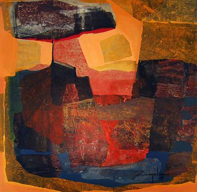 Cosmic Space Painting - Os1959bo006 Abstract Landscape Of Mountain Potosi 22x21.5 by Alfredo Da Silva