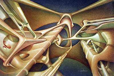 Cosmic Space Painting - Os1979br002 Bio Forms 21.3 X 32 by Alfredo Da Silva