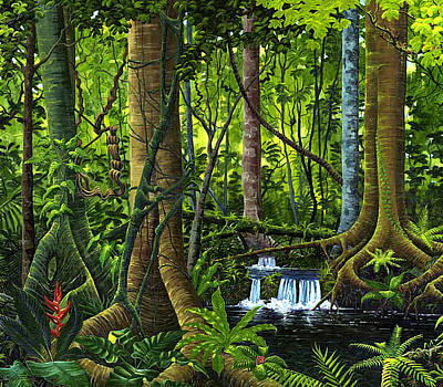 Osa Wall Art - Painting - Osa Peninsula Rainforest by Michael Cranford