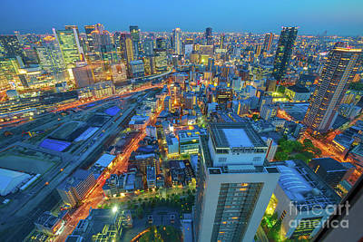Photograph - Osaka Skyline Twilight by Benny Marty