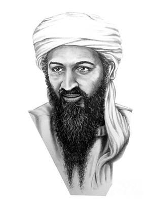 Famous People Drawing - Osama Bin Laden by Murphy Elliott