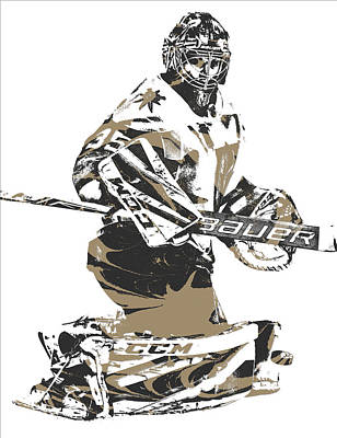 Knight Mixed Media - Oscar Dansk Vegas Golden Knights Pixel Art 1 by Joe Hamilton