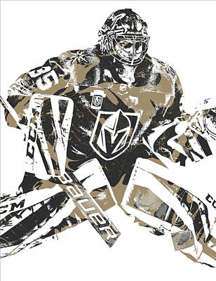 Knight Mixed Media - Oscar Dansk Vegas Golden Knights Pixel Art 3 by Joe Hamilton