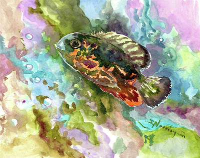 Painting - Oscar Fish, Cichlid, Fish Illustration by Suren Nersisyan
