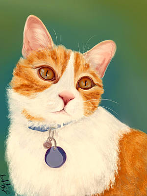 Painting - Oscar- Orange Tabby  by Becky Herrera