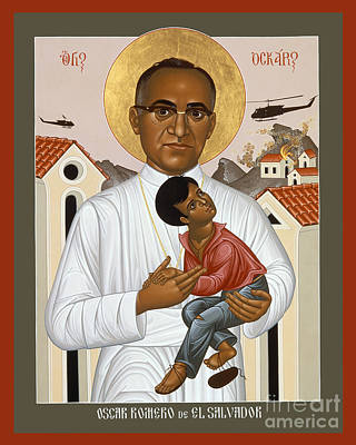 Holy Trinity Icon Painting - Oscar Romero Of El Salvado - Rlosr by Br Robert Lentz OFM