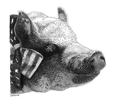 Drawing - Oscar The Piggy by Scott Woyak