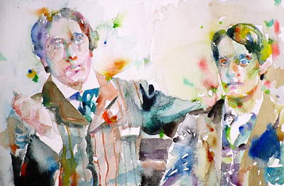 Oscar Wild And Bosie - Watercolor Portrait Original by Fabrizio Cassetta
