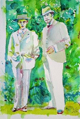 Painting - Oscar Wilde And Bosie - Watercolor Portrait.2 by Fabrizio Cassetta