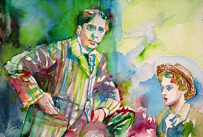 Painting - Oscar Wilde And Bosie - Watercolor Portrait.3 by Fabrizio Cassetta