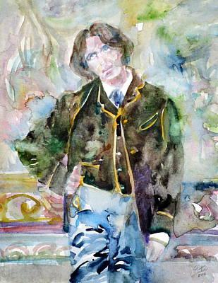 Oscar Wilde - Watercolor Portrait.10 Original by Fabrizio Cassetta