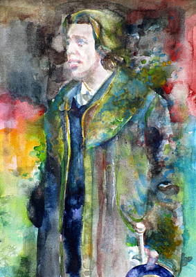 Oscar Wilde - Watercolor Portrait.11 Original by Fabrizio Cassetta