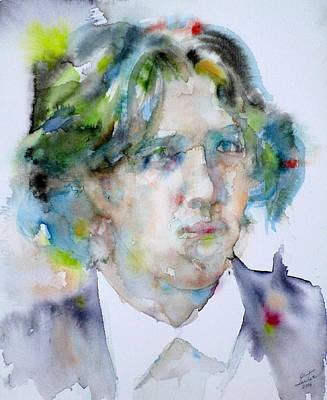Oscar Wilde - Watercolor Portrait.13 Original by Fabrizio Cassetta