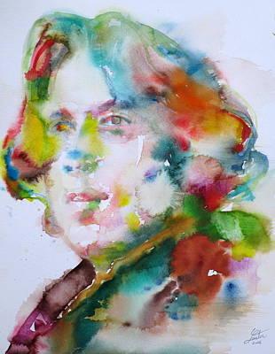 Oscar Wilde - Watercolor Portrait.15 Original by Fabrizio Cassetta