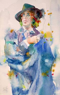 Oscar Wilde - Watercolor Portrait.18 Original by Fabrizio Cassetta