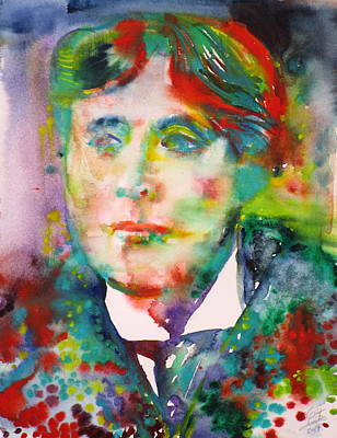 Painting - Oscar Wilde - Watercolor Portrait.19 by Fabrizio Cassetta