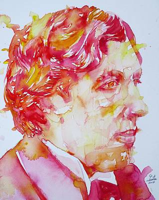 Painting - Oscar Wilde - Watercolor Portrait.21 by Fabrizio Cassetta