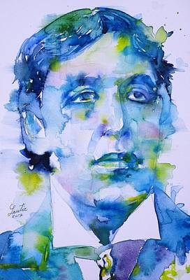 Painting - Oscar Wilde - Watercolor Portrait.22 by Fabrizio Cassetta