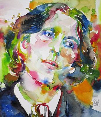 Painting - Oscar Wilde - Watercolor Portrait.23 by Fabrizio Cassetta