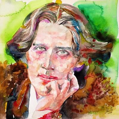Painting - Oscar Wilde - Watercolor Portrait.24 by Fabrizio Cassetta