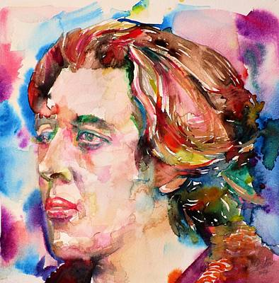 Painting - Oscar Wilde - Watercolor Portrait.25 by Fabrizio Cassetta