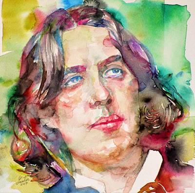 Painting - Oscar Wilde - Watercolor Portrait.27 by Fabrizio Cassetta