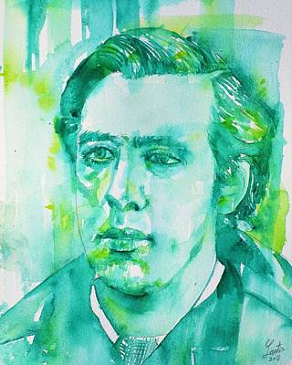 Painting - Oscar Wilde - Watercolor Portrait.28 by Fabrizio Cassetta