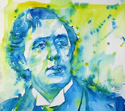 Painting - Oscar Wilde - Watercolor Portrait.29 by Fabrizio Cassetta