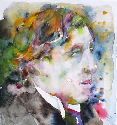Oscar Wilde - Watercolor Portrait.8 Original by Fabrizio Cassetta