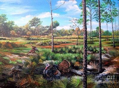 Osceola Turkey Painting - Osceola Turkeys And Florida Panther - Life  After The Burn by Daniel Butler