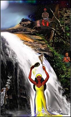 Spiritual Portrait Of Woman Digital Art - Oshun, Obatala, Elegua And Chango by Carmen Cordova