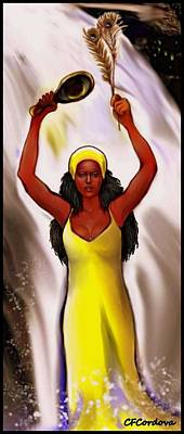 Spiritual Portrait Of Woman Digital Art - Oshun With Mirror And Peacock Feather by Carmen Cordova