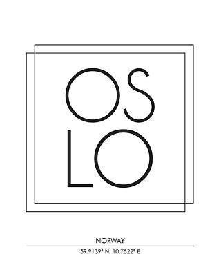 Oslo City Print With Coordinates Art Print