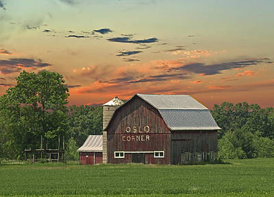 Photograph - Oslo Corner Barn by Judy Johnson