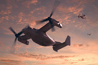 Helicopter Digital Art - Ospreys In Flight by Mike McGlothlen