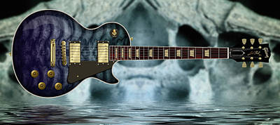 Digital Art - Ossified Les Paul by WB Johnston