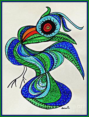 Animals Drawings - Ostentatious Bird by Sarah Loft