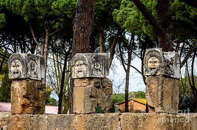 Photograph - Ostia Antica - Theatre Marble Masks by Debra Martz
