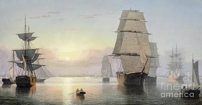 Reflecting Sunset Painting - Boston Harbor, Sunset by Fitz Henry Lane