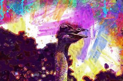 Emu Digital Art - Ostrich Emu Zoo Animals Bouquet  by PixBreak Art