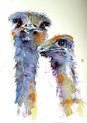 Painting - Ostriches by Kovacs Anna Brigitta