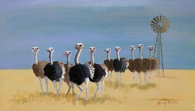 Karoo Painting - Ostriches With Attitude by Jenny Smith
