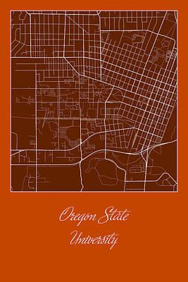 City Digital Art - Osu Street Map - Oregon State University Corvallis Map by Jurq Studio