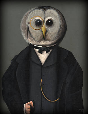 Gold Chain Painting - Oswald Owl by Timothy Campbell