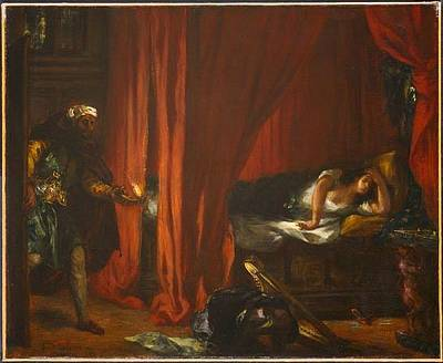 Woman Painting - Othello  by Eugene Delacroix