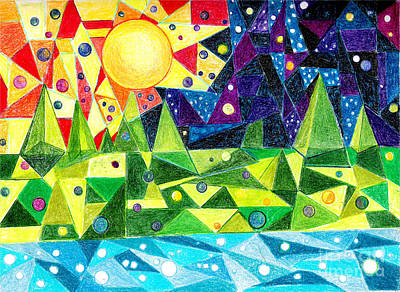 Abstract Expressionism Drawing - Other Worlds by Patricia Merewether
