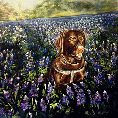 Painting - Otis In The Bluebonnets by J Reynolds Dail